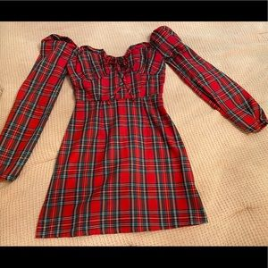 Asos plaid balconette dress in XS